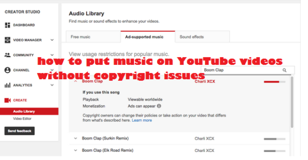 Put music on YouTube videos without copyright issues