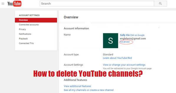 how to delete a YouTube Channel stuff